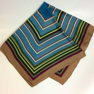 Echo Blue Purple Green Tan Stripe Silk Scarf